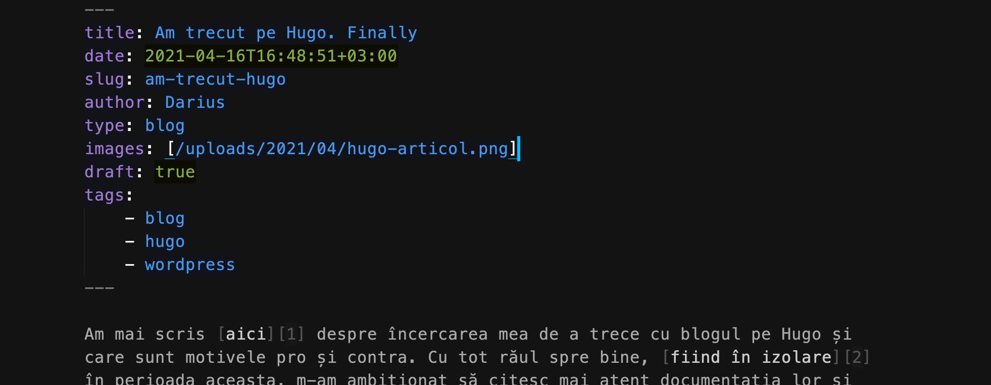 aritcol scris in Hugo